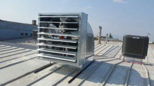 endüstriyel klima ve fan çatı uygulaması