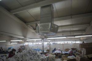 sprinday s200 eveporatif soğutma tekstil fabrika uygulama iç görünüm
